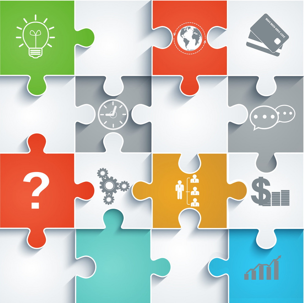 Parts of paper puzzles with icons. Business concept, template